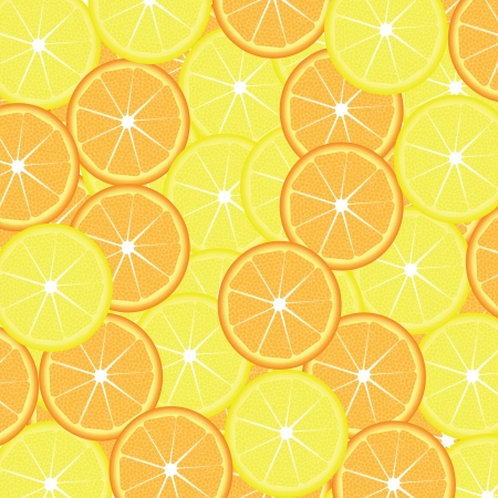 Slices of lemon and orange seamless background, vector illustration Stock Vector - 16383736