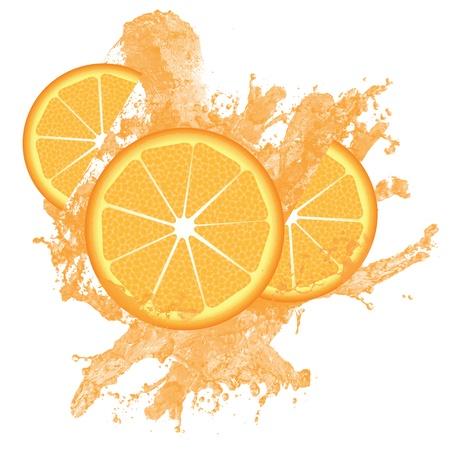 soda splash: Orange slices and juice splashing isolated on white, vector illustration