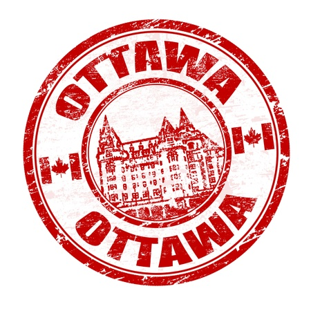 ottawa: Grunge rubber stamp with the name of Ottawa the capital of Canada written inside, vector illustration