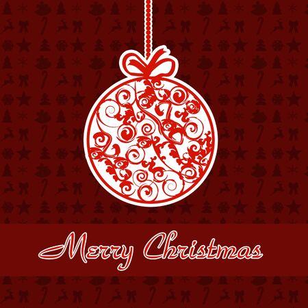 black bow: Christmas Greeting Card. Abstract card with Christmas ball, vector illustration