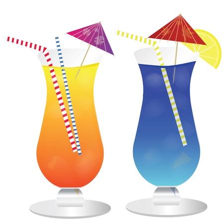 bocal: Cocktails on white background, vector illustration