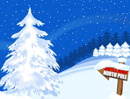 north pole sign: Seasonal greeting card with trees and north pole sign