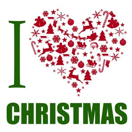 part of me: Me encanta Navidad de fondo. El corazón está hecho de diferentes artículos de Navidad, ilustración vectorial Vectores