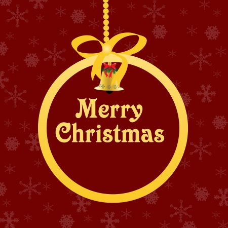 xmas star: Red Christmas background with golden ball and space for your text, vector illustration