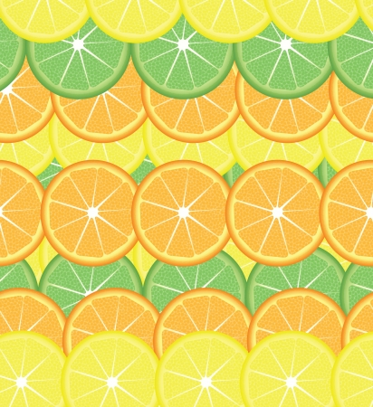 Slices of lemon,lime and orange seamless background,  illustration Vector