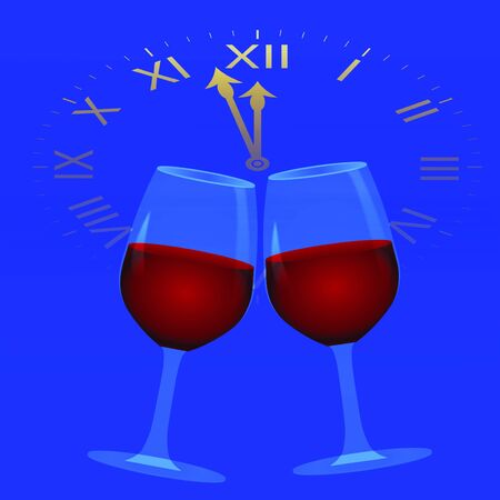 midnight: New Year background with clock and wine glasses,  illustration
