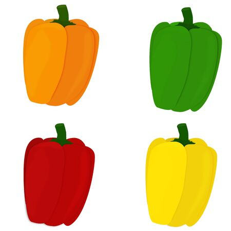 pimento: Background of all sweet pepper colors on white Illustration
