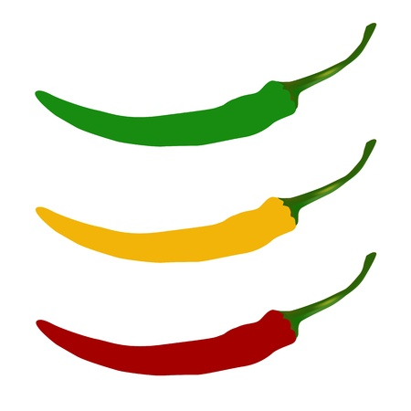 peper: Hot chilli pepper  set isolated on white background. Red, yellow and green