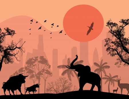 of antelope: Wild animals in the city park at sunset, illustration