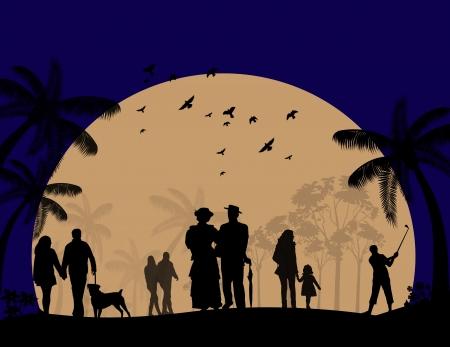 People walking in nature park landscape background illustration Stock Vector - 16666645