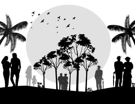 People walking on a park on black and white,  illustration Stock Vector - 16666644