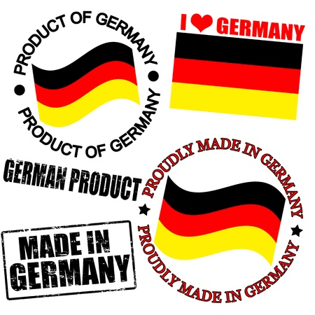 Set of stamps and labels with the text made in Germany written inside Stock Vector - 16666642