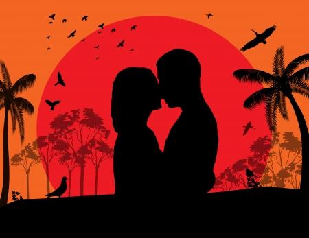 siluetas de enamorados: Pares que se besan en rojo puesta de sol en el parque, ilustración de fondo vector Vectores
