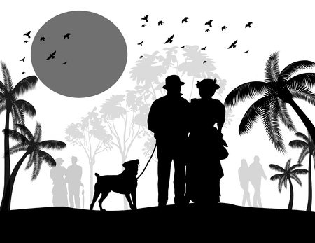 Silhouette of a vintage couple walking their dog on beautiful landscape, vector illustration Vector