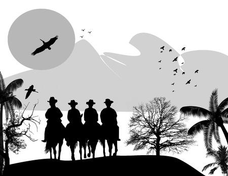country western: cowboys de silhouette avec des chevaux sur le paysage magnifique, illustration vectorielle Illustration