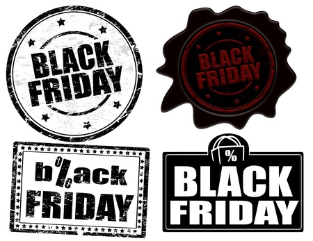 Set of stamps and labels with the text black friday written inside,  illustration Stock Vector - 16726716