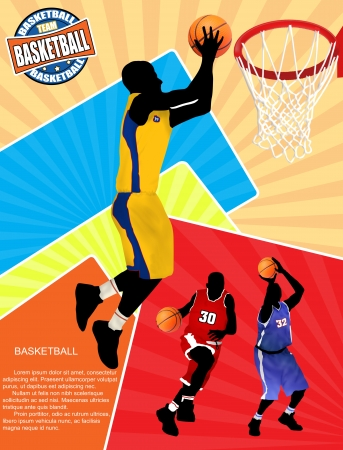 Basketball advertising poster with space for your text, illustration Vector