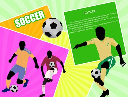 Soccer Action players. Abstract Classical football poster with space for your text, illustration Stock Vector - 16762311