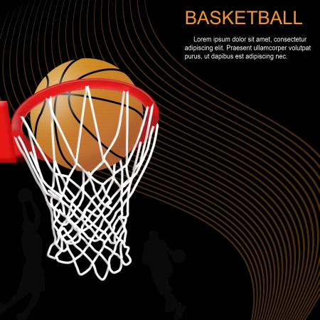 basketball shot: Basketball hoop and ball on abstract background Illustration