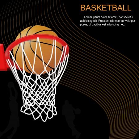 Panier de basket et ballon sur fond abstrait