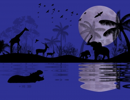 Wild animals in african landscape near water, vector illustration Vector