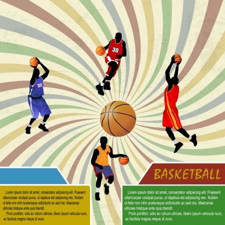 Basketball advertising poster with space for your text, vector illustration Vector