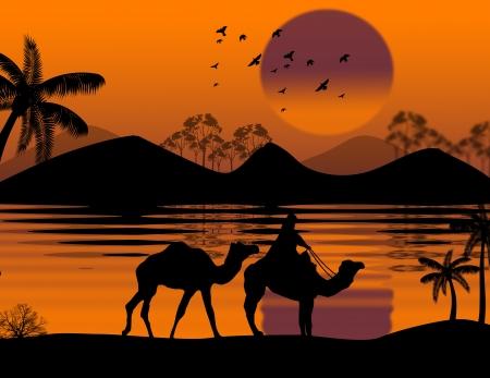 bedouin: Bedouin camel caravan in wild africa landscape background illustration