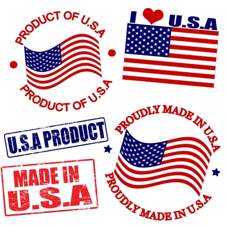 made: Set of stamps and labels with the text made in USA written inside Illustration