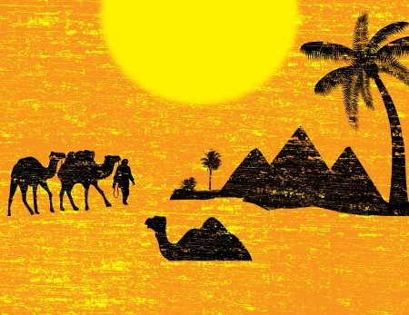 desert storm: Bedouin camel caravan in wild africa landscape, vector illustration Illustration