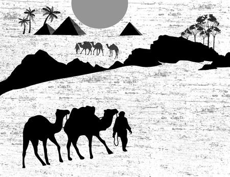 bedouin: Bedouin camel caravan in wild africa landscape on black and white, illustration