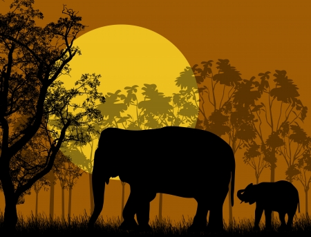 Elephant family in wild african landscape at sunset, illustration Vector