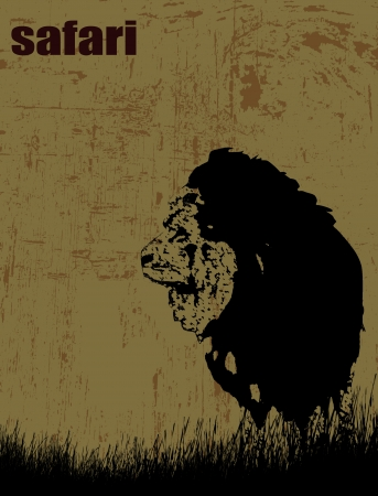 lion silhouette: Lion silhouette on grunge background - safari theme, illustration Illustration