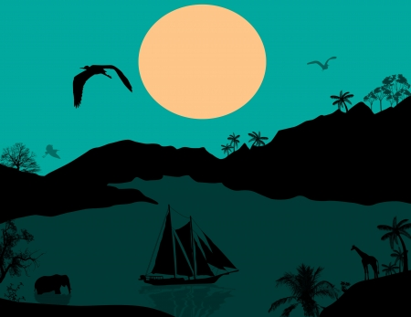 Vintage sailboat at sunset and wild animals, illustration Vector