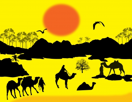 berber: Camels caravan in Sahara on yellow sunset background, illustration Illustration