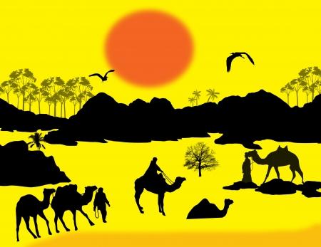 nomadic: Camels caravan in Sahara on yellow sunset background, illustration Illustration