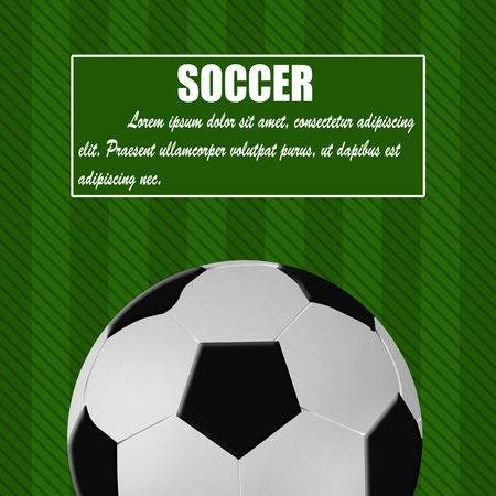 Soccer ball on green card design with space for your text, illustration Vector