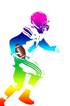 Colorful man figure of a american football player on white, vector illustration