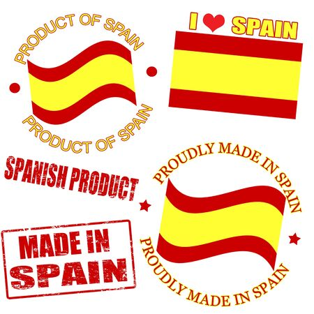 made in spain: Set of stamps and labels with the text made in Spain written inside