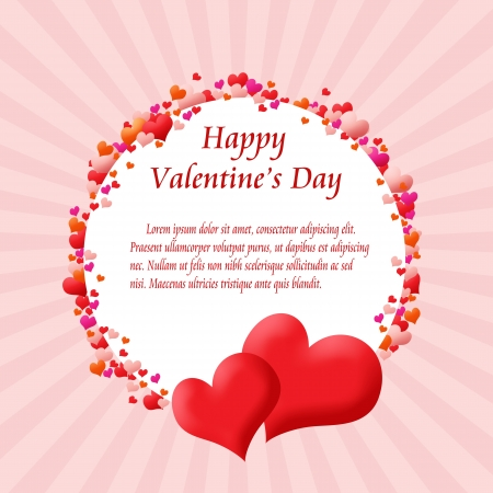 Round card frame made from hearts.Valentine's day vector background Stock Vector - 17359674