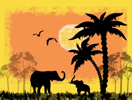 African safari theme with elephants against a grunge background, vector illustration Vector
