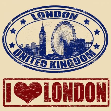 Conjunto de sellos de goma del grunge con Londres Ilustración de vector