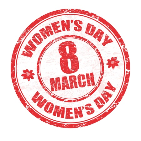 march 8: Red grunge rubber stamp with the text womens day written inside, vector illustration