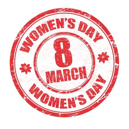 mars: Timbre en caoutchouc rouge grunge avec les jours les femmes de texte �crit � l'int�rieur, illustration vectorielle