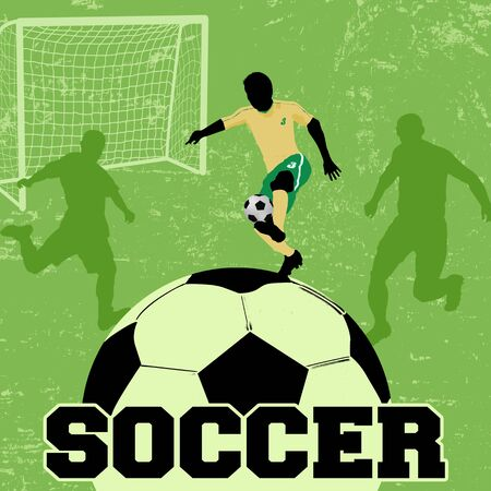 scramble: Soccer grunge poster background with players silhouette, vector illustration