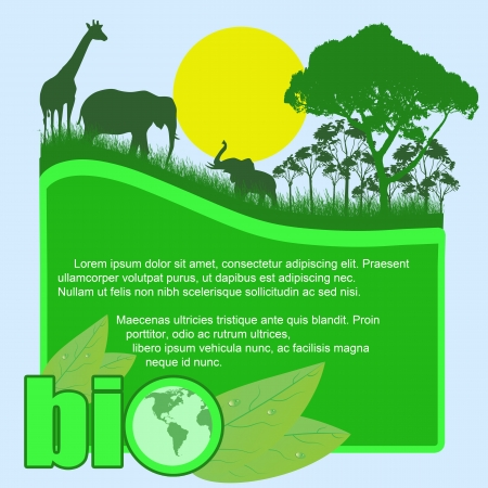 recycled water: Green bio poster with trees and wild animals and space for your text, vector illustration