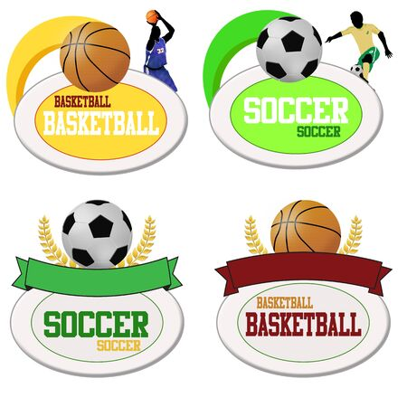 Basketball and footballs icons isolated on white. Vector illustration sport templates Stock Vector - 17430927