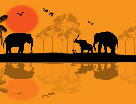 African wildlife at sunset, with elephants near water Vector