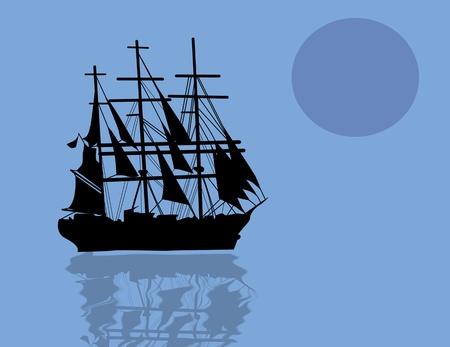 Vintage sailboat sailing at blue sunset Stock Vector - 17590496