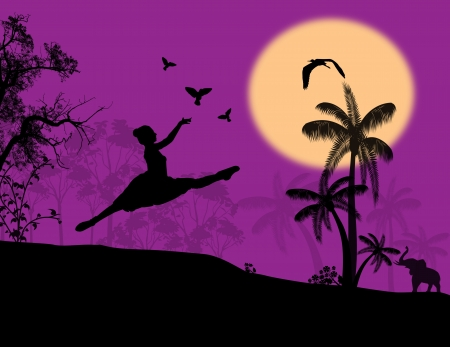 releasing: Silhouette of girl releasing doves in sky at lila sunset illustration