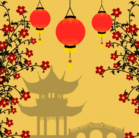 Traditional chinese lanterns for Chinese New Year and asian pagoda. Asian style background, illustration Vector